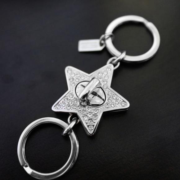 bff9e4c2e6e Coach Crystal Pave Star Turn lock Valet Keychain